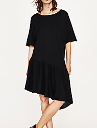 Women's Casual/Daily Simple Loose Dress,Solid Crew Neck Above Knee Long Sleeve Rayon Summer Mid Rise Micro-elastic Thin