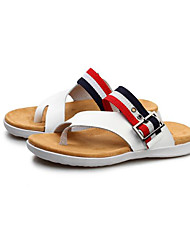 Men's Sandals Comfort Leather Spring Casual Screen Color Black White Flat