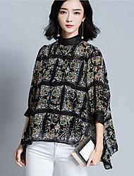 Damen Blumen Einfach Lässig/Alltäglich T-shirt,Rundhalsausschnitt ½ Länge Ärmel Baumwolle