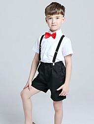 Cotton Ring Bearer Suit - Five-piece Suit Pieces Includes  Shirt Vest Pants Bow Tie Suspenders