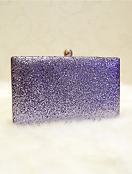 Women Evening Bag PU All Seasons Event/Party Party & Evening Club Baguette Magnetic Gray Silver