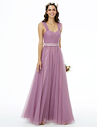 A-Line Straps Floor Length Tulle Bridesmaid Dress with Sashes / Ribbons Pleats Ruche by LAN TING BRIDE®