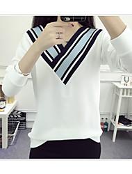 Tee-shirt Femme,Couleur Pleine simple Manches Longues Col en V Coton