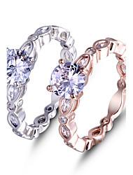Кольцо Обручальное кольцо Цирконий Любовь Мода Elegant Платина Драгоценный камень Цирконий Бижутерия ДляСвадьба Особые случаи