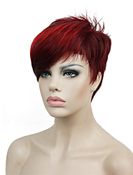 Short Side Bang Red Highlights Asymetrical Straight Wig Full Synthetic Wigs