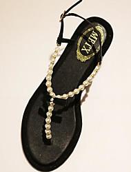 Damen Sandalen Komfort PU Sommer Normal Komfort Schwarz Champagner Flach