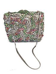 Women Stylish Rhinstone Flower Clutch Evening Bag