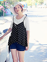 Women's Daily Simple Blouse,Round Dots Strap Sleeveless Polyester