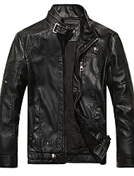 Men's Casual/Daily Vintage Fall Winter Leather Jacket,Solid Stand Long Sleeve Regular PU Fur Trim