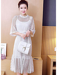 Mujer Recto Vestido CasualUn Color Escote Redondo Midi Media manga Poliéster Primavera Tiro Medio Rígido Medio