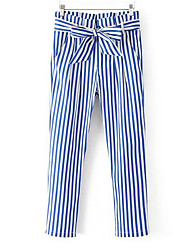 Women's High Waist Inelastic Loose Pants,Simple Relaxed Striped