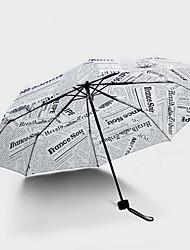 Folding Female Windproof Three Fold British Wind Newspaper Umbrella Rain And Rain Umbrella
