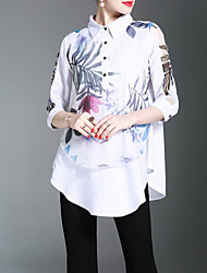 ZOSOL  Women's Casual/Daily Work Chinoiserie Spring Summer ShirtEmbroidered Stand  Sleeve White Cotton Medium