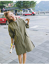 Women's Daily Modern/Comtemporary Spring Trench Coat,Solid Stand Long Sleeve Long Others
