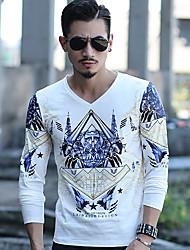 Tee-shirt Homme,Imprimé simple Manches Longues Col en V Coton
