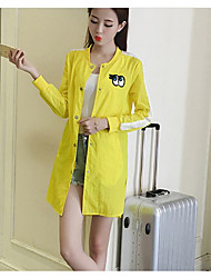 Women's Casual/Daily Active Spring Trench Coat,Solid Stand Long Sleeve Long Others
