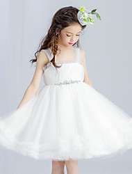 A-line Knee-length Flower Girl Dress - Tulle Straps with Beading