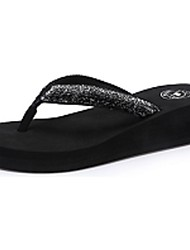 Camel Women's Flip Flop All-match Indoor Sandals Comfort Wedge Heel Shoes Color Black