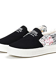Damen Loafers & Slip-Ons Leinwand Frühling Weiß Schwarz Blau Flach