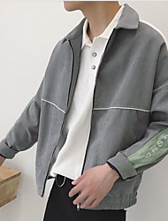 Men's Daily Modern/Comtemporary All Seasons Jacket,Solid Print Shirt Collar Long Sleeve Regular Others