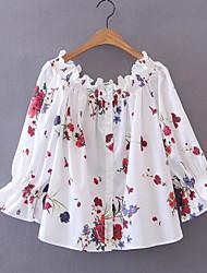 Damen Blumen Einfach Alltag T-shirt,Bateau 3/4 Ärmel Baumwollmischung