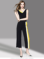 OYCP Women's Daily Contemporary Summer Tank Top Pant Suits,Solid Round Neck Sleeveless