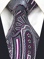 CXL3 New Extra Long Mens Ties Classic Gray Purple Paisley 100% Silk Handmade Casual Business