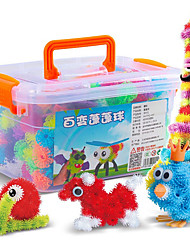 Approx 370PCS DIY Bunchems Building Block Toys Set with 35 Accessory Kid Squish Connect Create Squeezing Assembly Bunchems Ball Educational Toys Kit