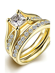 Concise Gold Color Titanium Steel Square Imitation Drill 2 in 1 Band Wedding Ring Set Jewellery for Women