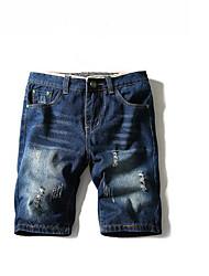 Men's Mid Rise Micro-elastic Jeans Pants,Simple Loose Denim