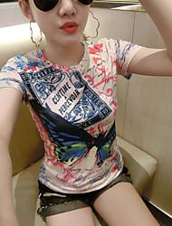 T-shirt Da donna Casual Moda cittàCon stampe Rotonda Cotone Manica corta
