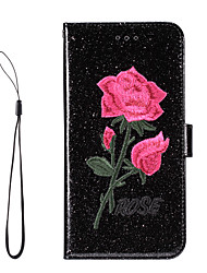 For Apple iPhone 7 Plus iPhone 6s 6 Plus iPhone SE 5s 5 Case Cover The Embroidery Glitter Shine PU Leather Cases