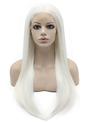 White Color Synthetic Wigs Lace Front Straight Hair Heat Resistant Fiber Hair Wig for Woman