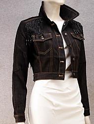 Women's Casual/Daily Simple Fall Denim Jacket,Solid Shirt Collar Long Sleeve Short Linen