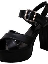 Для женщин Сандалии Лён Полиуретан Лето Для прогулок Комбинация материалов На толстом каблуке Черный Серый 7 - 9,5 см