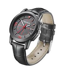 Men's Smart Watch Fashion Watch Quartz Leather Band Black Brown