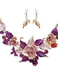 Mulheres Conjunto de Jóias Moda Euramerican bijuterias Liga Formato de Flor Formato de Folha 1 Colar 1 Par de Brincos Para Festa