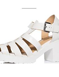 Damen High Heels Fersenriemen PU Sommer Normal Fersenriemen Blockabsatz Weiß Schwarz 5 - 7 cm