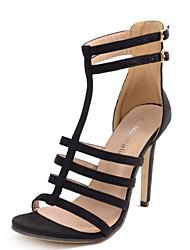 Damen Sandalen Vlies Sommer Schnalle Stöckelabsatz Schwarz 10 - 12 cm
