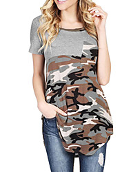 Tee-shirt Femme,simple Camouflage Quotidien Décontracté Plein Air Sortie Vintage simple Chic de Rue Printemps Eté Manches CourtesCol