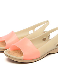 Women's Sandals Jelly Shoes Synthetic Microfiber PU Summer Casual Jelly Shoes Flat Heel Blue+Pink Light Blue Fuchsia Beige Black Flat