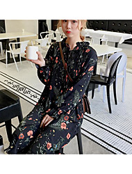 Sign crimp was thin loose long-sleeved floral chiffon shirt wild long section of small fresh dress