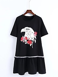 Ample Courte Tee Shirt Robe Femme Sortie Décontracté / Quotidien simple Chic de Rue,Couleur Pleine Motif Animal Col ArrondiAu dessus du