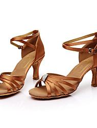 Customizable Women's Latin Satin Sandals Indoor Rhinestones Customized Heel Brown