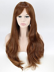 Brown Synthetic Hair Women Long Wavy Wig High Temperature 60cm Long Curly Wigs