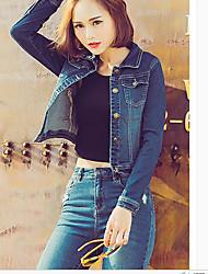 Feminino Jaqueta jeans Decote Quadrado Manga Longa