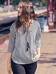Damen Gestreift Einfach Alltag T-shirt,V-Ausschnitt 3/4 Ärmel Polyester