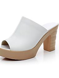 Damen Sandalen Komfort Leder Sommer Normal Komfort Blockabsatz Weiß Schwarz 5 - 7 cm