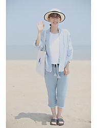 Для женщин Джинсовая куртка Рубашечный воротникПайетки