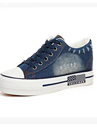 Women's Sneakers Comfort Canvas Spring Casual Screen Color Light Blue Navy Blue Flat